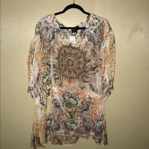 Sheer 3xl medallion print top